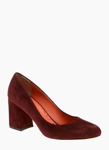 Divarese Kalın Topuklu %100 Deri Ayakkabı Bordo